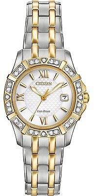 Citizen Eco-Drive Women's EW2364-50A Two-Tone Diamond Bezel Bracelet 26mm Watch
