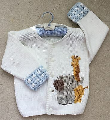 Baby Boys Kicott 100% Cotton Elephant Giraffe Animal Cardigan Sweater 24 Months