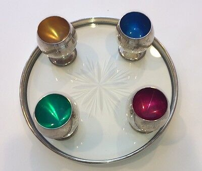Gorham Sterling Silver Cordial Set Green Blue Yellow Pink Insides 955 Tray 1320