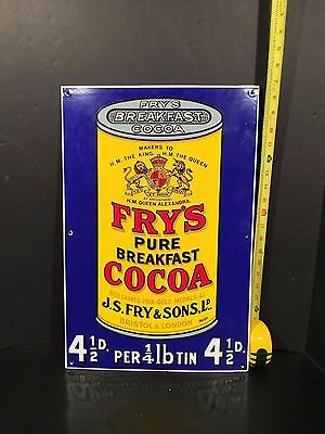 Fry's Pure Breakfast Cocoa Porcelain Sign great color