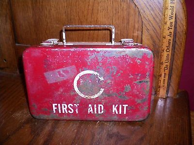 Vintage First Aid Kit Metal Box Muni / Flex Full With Contents Boat / Rv / Auto