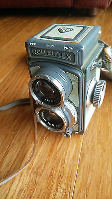 Rollei Rolleiflex 4x4 Vintage Camera TLR With Original Leather Case and Strap
