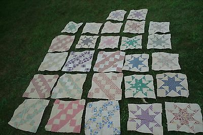 27 Vintage Old Large 12-In Feed Sack Quilt Blocks Squares - 2 Different Patterns
