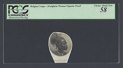 Belgian Congo Vignette Proof Mangbetu Woman About Uncirculated