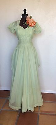VINTAGE 1940's Fred Perlberg Green Evening Dress BALL GOWN Prom M