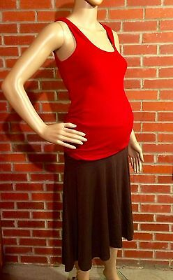 Old Navy Maternity Outfit Roll Panel Brown Skirt + Ruched Red Tank Sz Small EUC