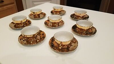 Gold Tea Cups with Matching Saucers - 8 sets