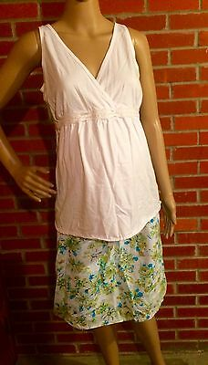 Maternity Outfit Old Navy White Surplice Tank Green Floral Skirt Sz Small GUC