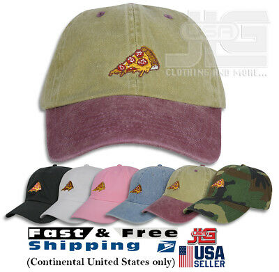 PIZZA EMBROIDERED DAD Cap Hat Adjustable Polo Style Unconstructed ... 8c558c1e3032