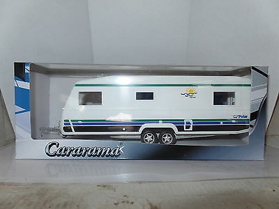 Cararama Oxford 1/43 Scale Caravan  6  Big Polar White Green Blue Black Stripes