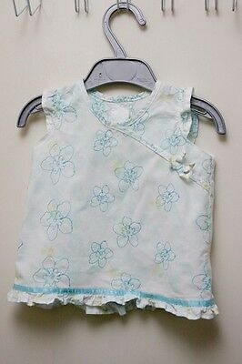 M&S Baby girls light cotton dress with blue embroidery - 3-6 months