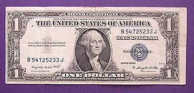 1935-G $1 - One U.S. Dollar Banknote - Silver Certificate - Blue Seal