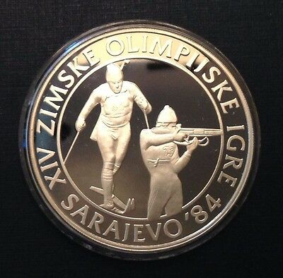 Yugoslavia 1983 Silver proof 500 Dinar Biathlon 1984 Olympic Winter Games