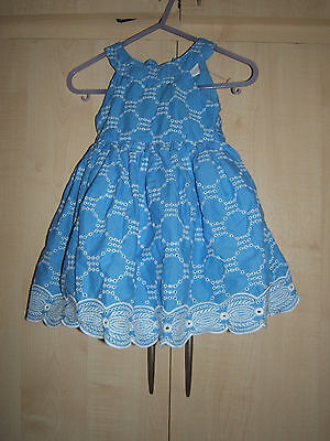 Girls Blue and White Dress age 6 - 9 months by Miniclub