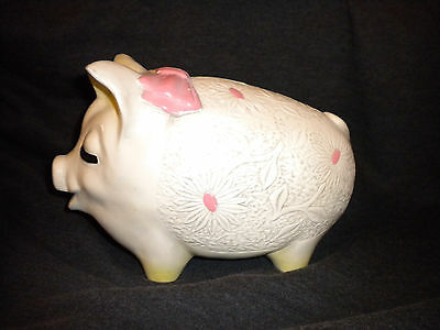 Vintage - Girl Pig / Pink Bow - Large Money Box / Piggy Bank - Stamped England