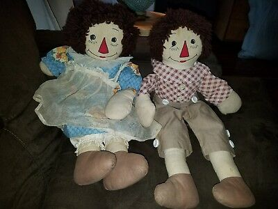 Vintage Raggedy Ann and Andy Rag Dolls 1940's