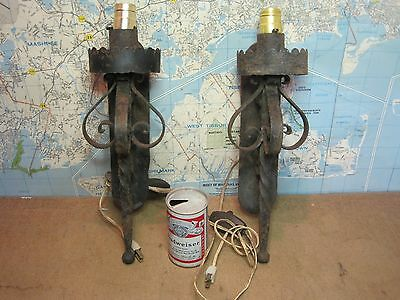 2 Vintage Wrought Iron Spanish Heavy Wall Sconces