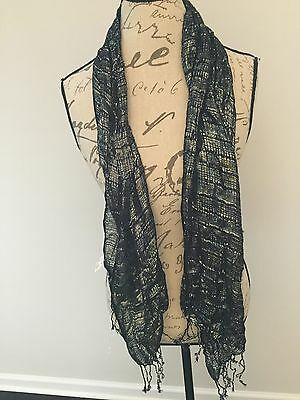 New With Tags Girls Scarf PLACE Black Silver Thread Fringed CUTE