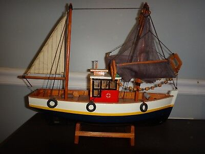 Vintage Wooden Model Ship Fishing Lobster Boat Custom Not a Kit
