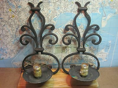 2 Vintage Cast Iron Scroll Design Heavy Wall Lamp Sconces