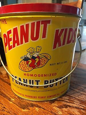 Peanut Kids Peanut Butter Antique Advertising Tin Can
