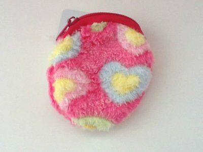 Girls Small Furry Purse Zip Opening Round Dark Pink Circle Gifts
