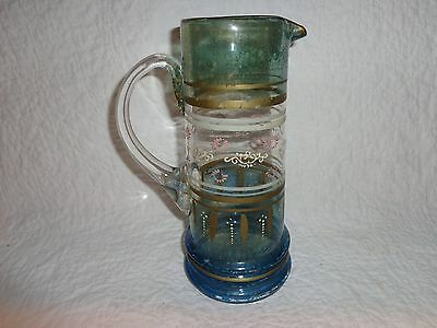 Antique Victorian Painted & Enameled Hand Blown Glass Pitcher, with Pontil Mark