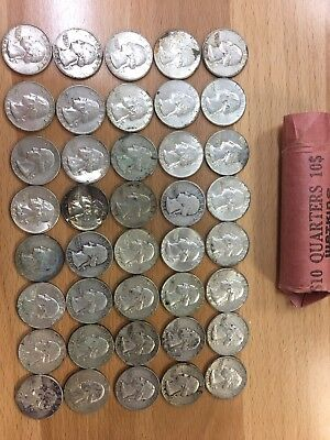 Lot Of 40 Mixed Date US Silver Quarters