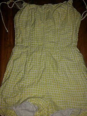 Vintage 1950s Cotton Swimsuit Bathing Suit  One Piece Romper yellow s/m