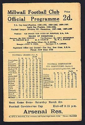 Football Programme Millwall v West Brom Division 2 28 February 1948
