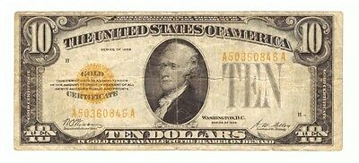 1928 US United States Gold Certificate Yellow Seal $10 Currency Note! USC052