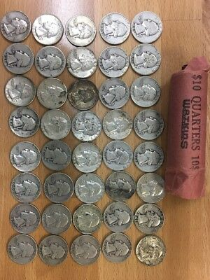 -Lot Of 40 - Mixed Date - US Silver Quarters-