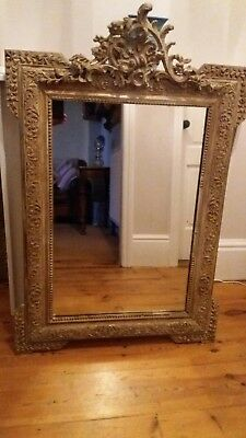 Ornate Crested French Vintage Mirror.