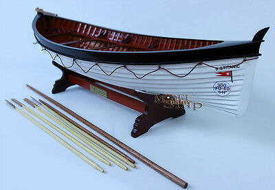 "Titanic's Lifeboat 24"" - Clinker Hull Handmade Wooden Row Boat Model NEW"