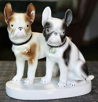 "TWO FRENCH BULLDOGS POSING Porcelain Figurine 6"" x 3"", 6"" tall"