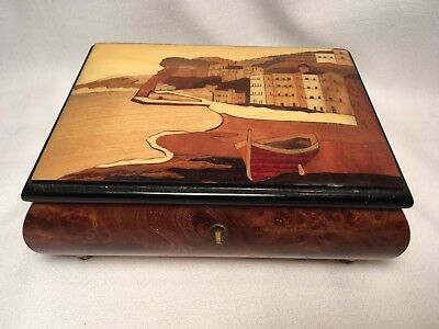 Vintage Music Box Italy Wood NOT WORKING Jewelry Box