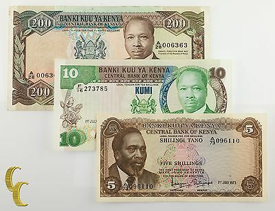 1973-1987 Bank of Kenya 3 pc Note lote 5, 10, 200 Shillings (VF-UNC) Condition