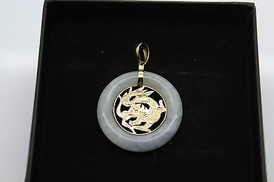 BRAND NEW Gold Jade Pendant Solid 14ct Chinese Dragon