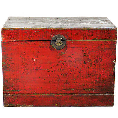 "Antique Asian Chinese 30"" wide Red front Trunk Chest w Hand Drawn Ink Designs"