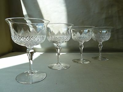 4 Antique John Walsh Walsh Crystal Champagne Glasses, VGC,