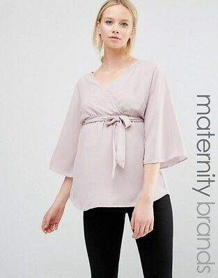 Maternity Wrap Pink Top Chiffon V Neck Size 14 New Look