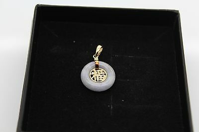 BRAND NEW Gold Lavender Jade Pendant Solid 14ct Chinese