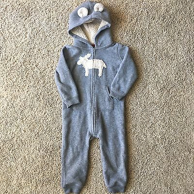 Carters Toddler Animal Sweater One Piece Hoodie Pajamas Zip Up Size 24 Months