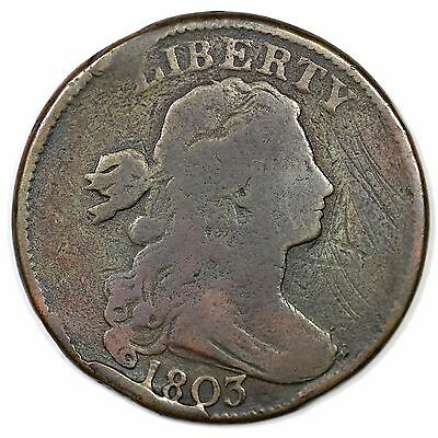 1803 S-253 Sm Date, Sm Frac TDS Draped Bust Large Cent Coin 1c