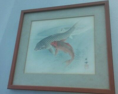 Very well done Japanese stamped Signed watercolor coy in pond gold and white NR