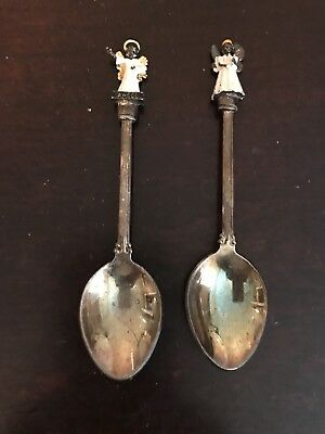 Vintage Souvenir Spoons WAPW Silverplated GT Britain Set Of Two