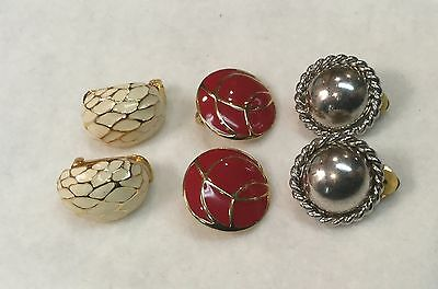 VINTAGE Clip-on EARRINGS, ESTATE Find, ReD pair are MONET