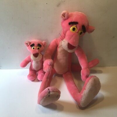 Vintage PINK PANTHER Small Large Plush LOT 1992 Mighty Star Stuffed Animal Toys