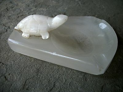 Vintage Turtle Ashtray Sculpture Soapstone Alabaster