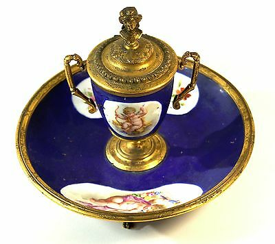 Sevres Inkwell Porcelain and gilt brass